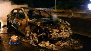 ไฟไหม้รถเก๋งบนทางด่วน