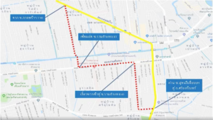 เส้นทางลัดเลี่ยงรถติดบริเวณโครงการรถไฟฟ้าสายสีเหลือง